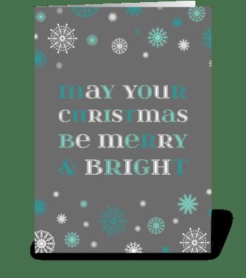 Grey Aqua Merry & Bright Christmas greeting card