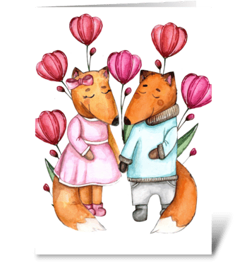 Сute little foxes  greeting card