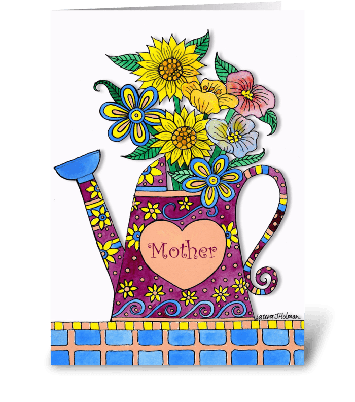 Mother's Day Watering Can & Flowers greeting card