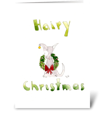 Hairy Christmas Dog greeting card