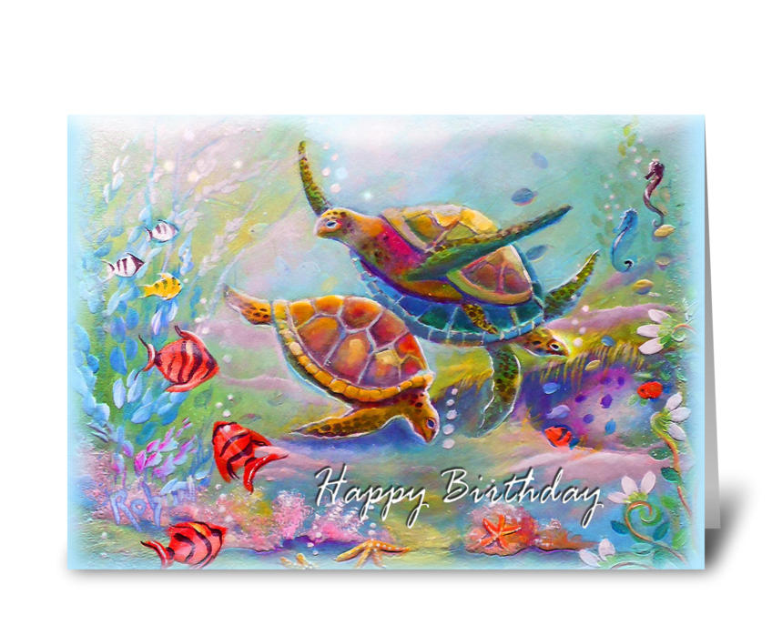 Colorful sea Turtles, Birthday Wishes greeting card