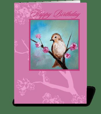 Happy Birthday, Bird & Cherry Blossom greeting card