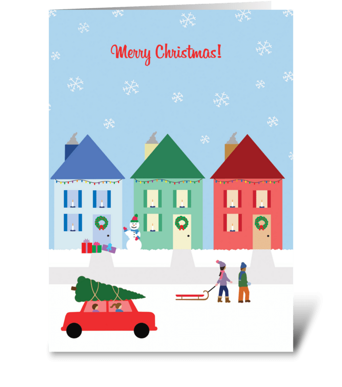 Christmas Cottages greeting card