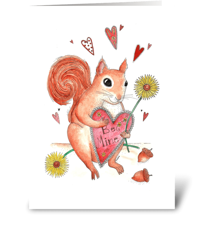 Squirrel in Love greeting card