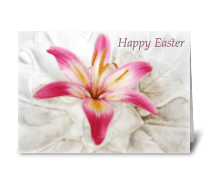 Happy Easter pink lily greeting card