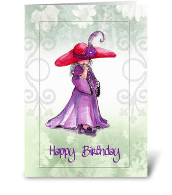 "little ""Red Hatter"" Birthday Greeting greeting card"