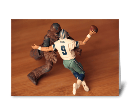 Chewbacca Sacking Tony Romo greeting card