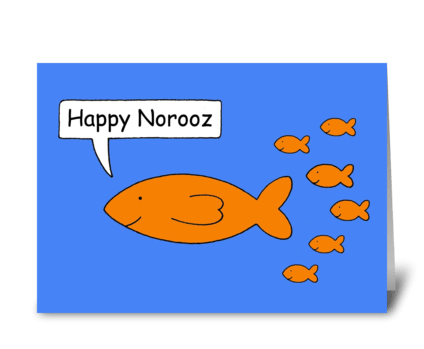 Happy Norooz Cartoon Goldfish family greeting card