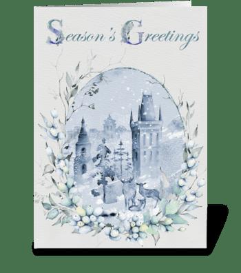 Winter Deer Season's Greetings Card greeting card