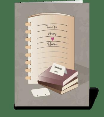 Library Books Binder Thank You Volunteer greeting card