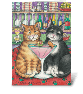 Anniversary Toast Cats #6 greeting card