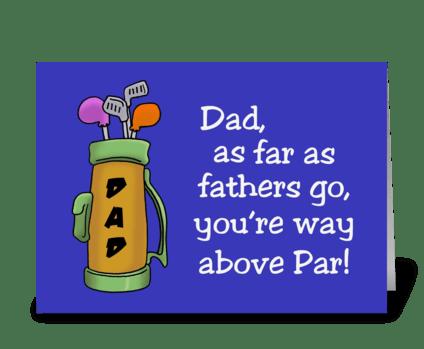 You'e Way Above Par greeting card