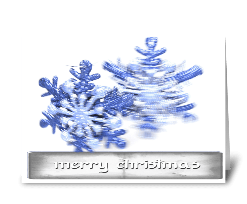 Merry Christmas with blue ornament greeting card