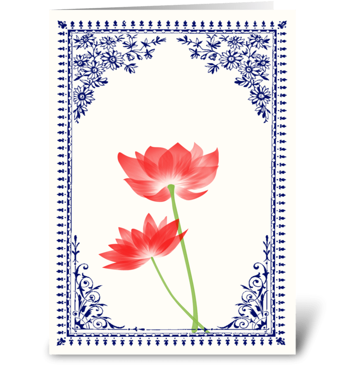 Vintage Red Flower 1 with Blue Border greeting card