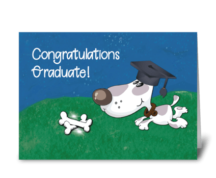 Graduation From Pet Dog Humorous greeting card