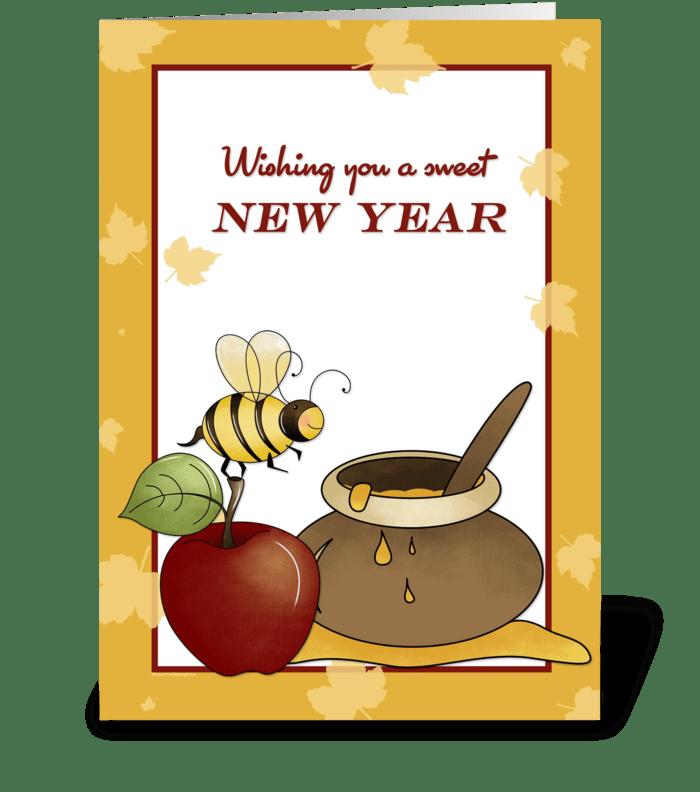 Rosh Hashanah Apple, Bee and Honey greeting card