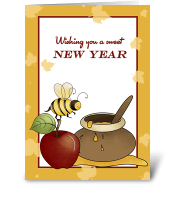 Rosh Hashanah Apple, Bee and Honey greeting card