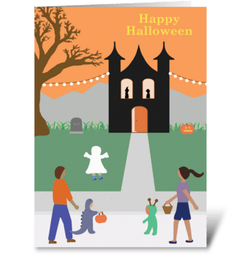 Halloween Trick-or-Treating greeting card
