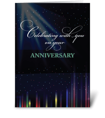 Employee Anniversary Sky, Black greeting card