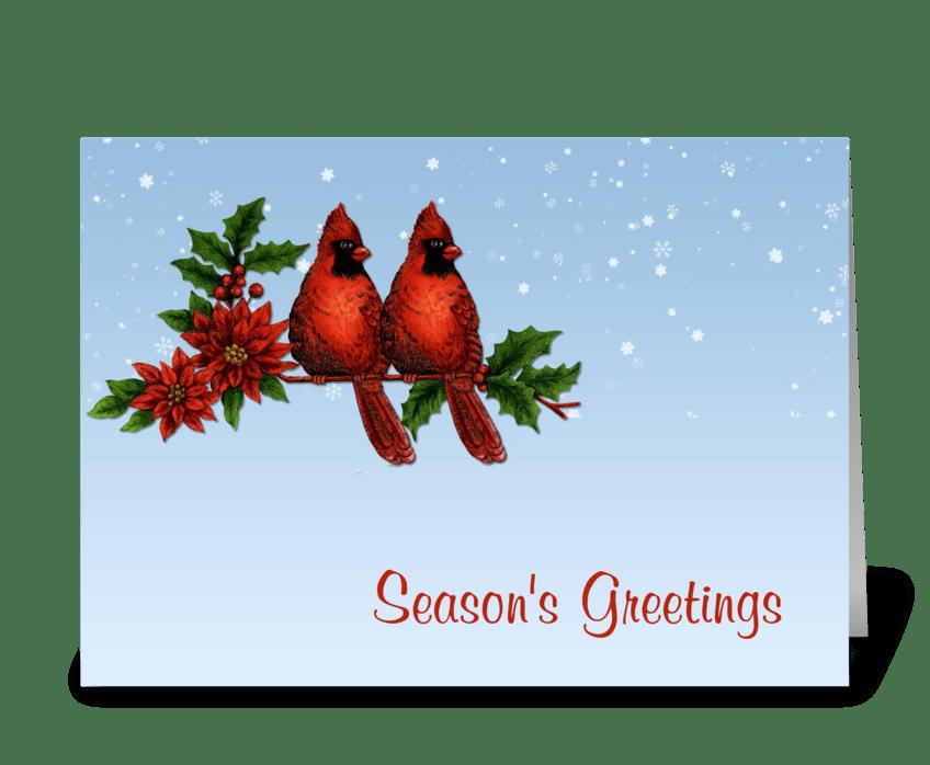 Red Cardinals Season's Greetings greeting card