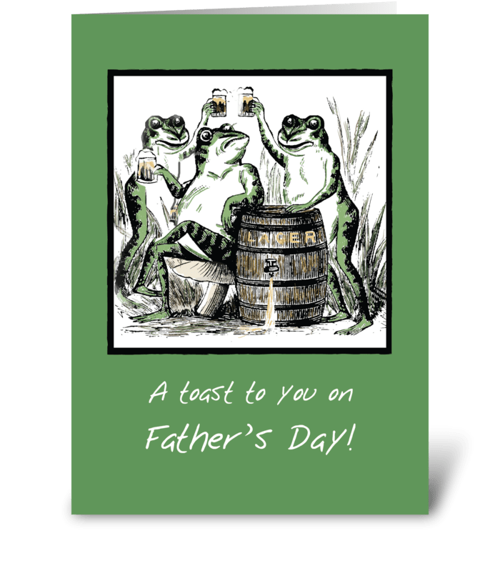 Father's Day Funny Frogs Toasting  greeting card