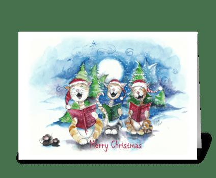singing Christmas Cats, Christmas Card greeting card