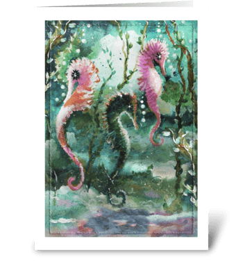 Painted Seahorses greeting card