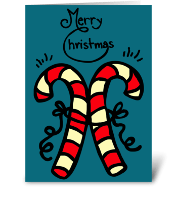 Christmas Candy Canes greeting card