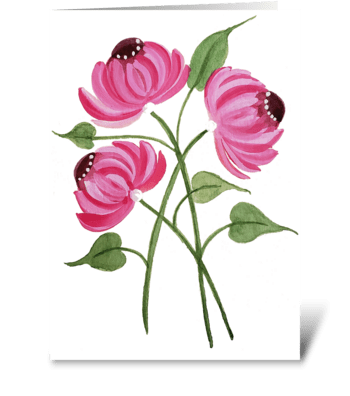 Pink Floral Mum Any Occasion greeting card
