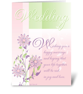 Pastels and Flowers Wedding Card greeting card