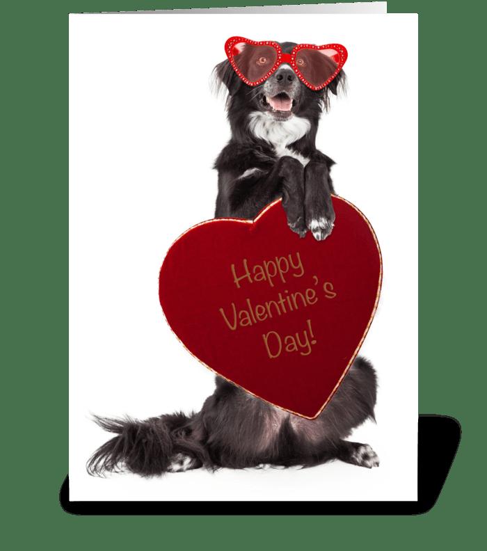 Dog Delivering Valentine Candy greeting card