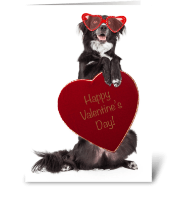Dog Delivering Valentine Candy greeting card