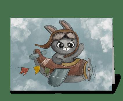 Bunny waves his hand greeting card