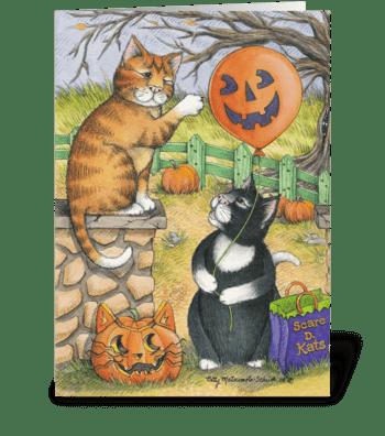 Halloween Mischief Cats #34 greeting card