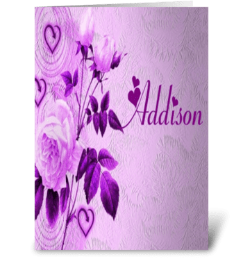 addison purple flower card greeting card