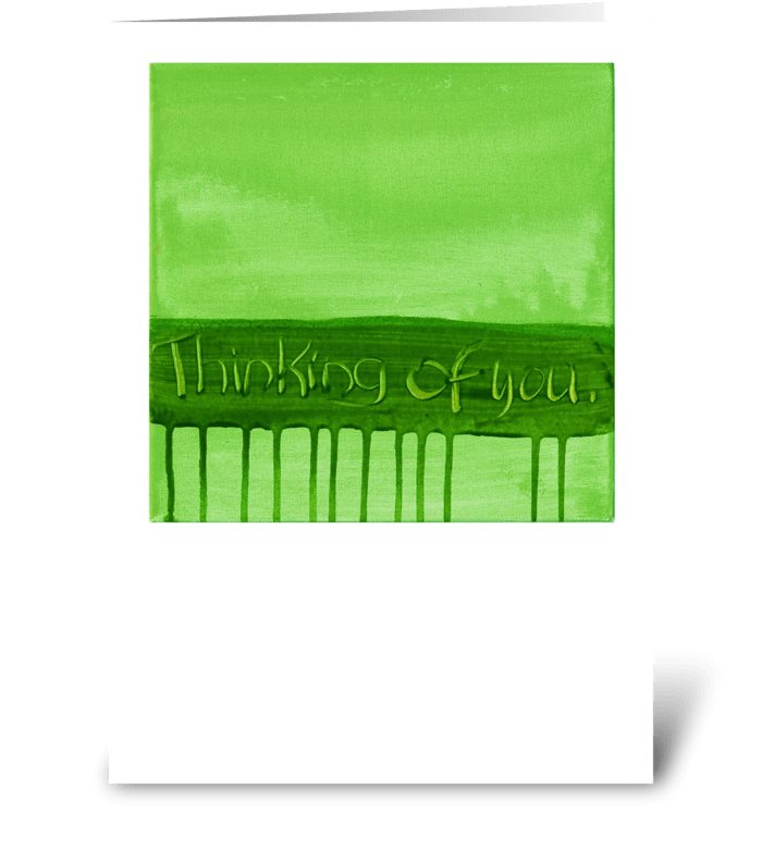 Thinking of You - Green on Green greeting card