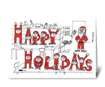 Happy Holiday Elves greeting card