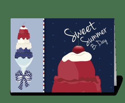 Ice Cream Sweet Summer Happy Birthday greeting card