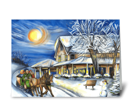 Sleigh Ride in the Country greeting card