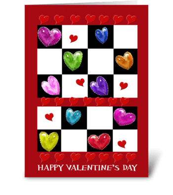 Painted Valentines and hearts greeting card