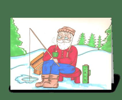 Ice Fishing Santa greeting card