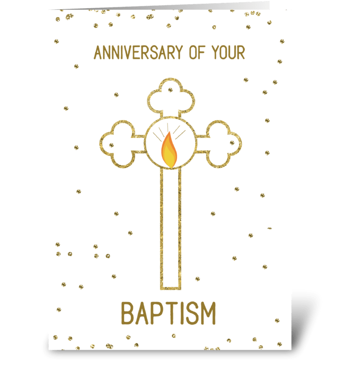 Anniversary of Baptism Gold Cross greeting card