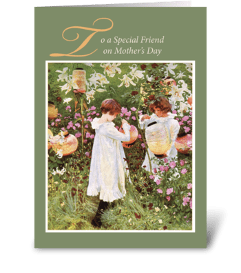 Friend, Mother's Day, Girls in Flower greeting card