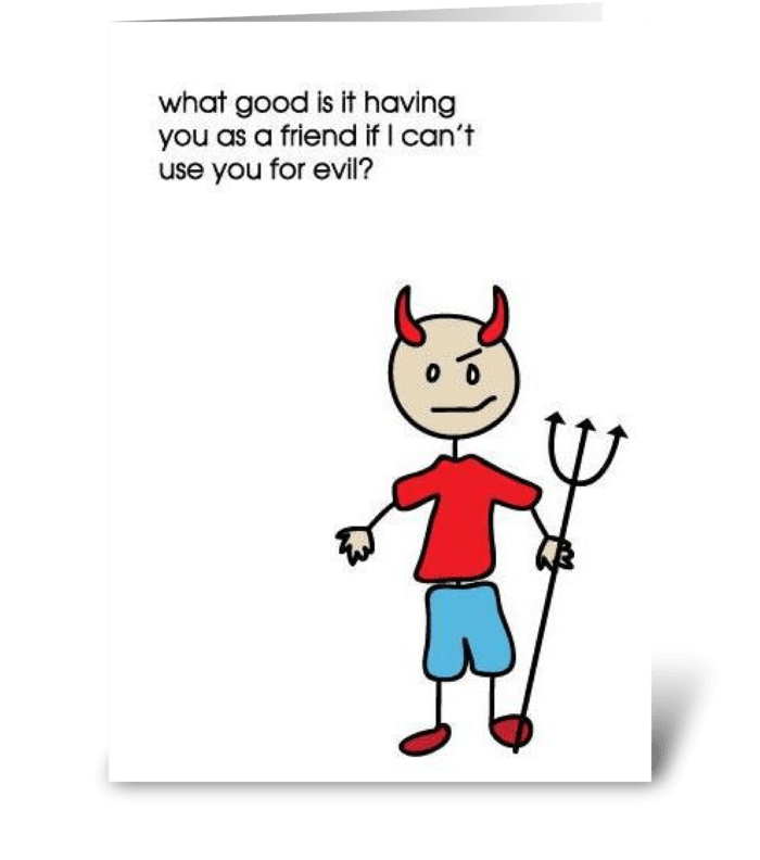 Evil greeting card