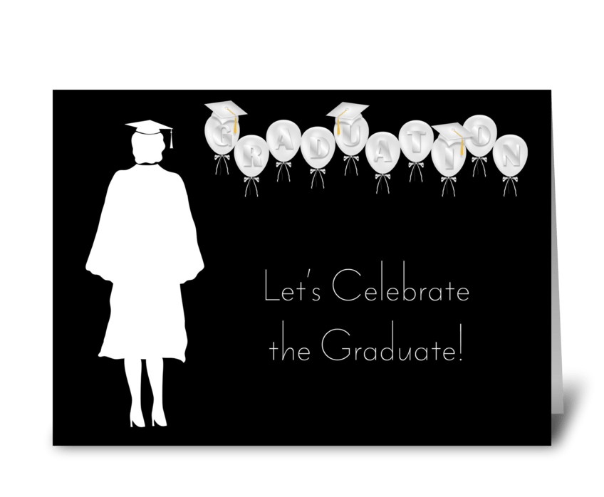 Grad, Girl, Balloons, Black and White greeting card