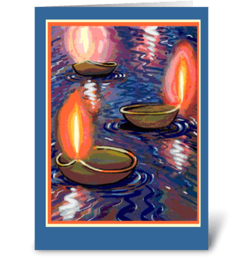 Diwali Floating Candles greeting card