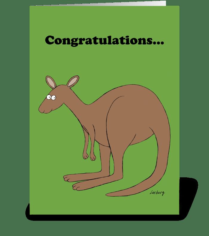 Kangaroo Congrats greeting card