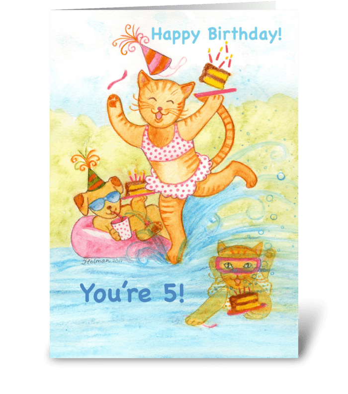 Cat in Pool Five Year Old Birthday greeting card
