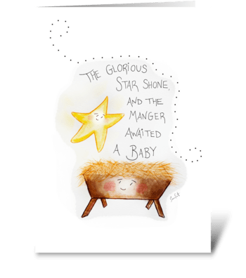 The Glorious Star and The Manger greeting card