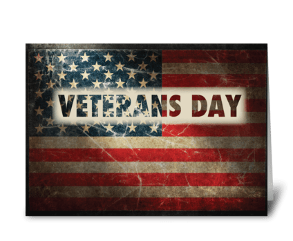 Veterans Day American Grunge Flag greeting card